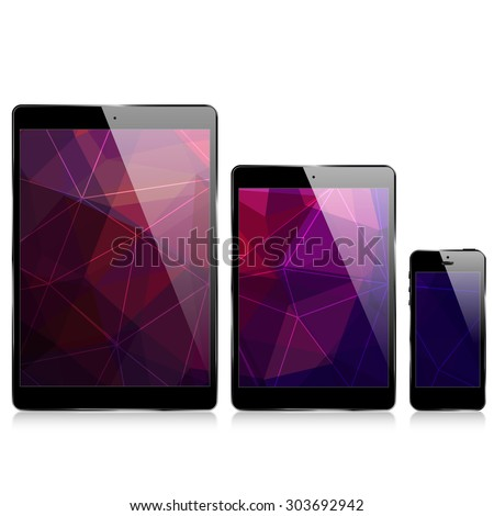 smartphone  laptop / triangular abstract background - stock vector