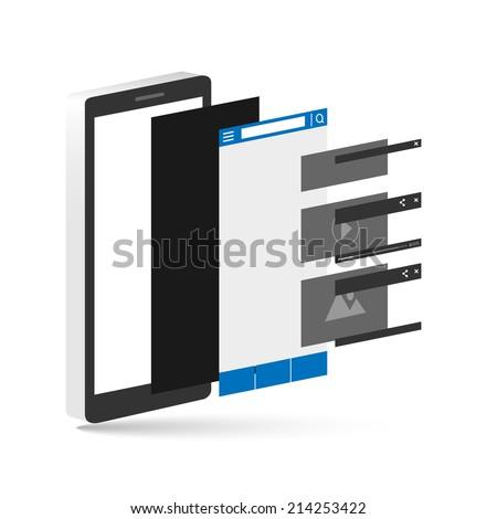 smartphone layer socail media. vecter illustration - stock vector