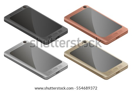 Smartphone, mobile phone isolated in white background, realistic vector illustration.