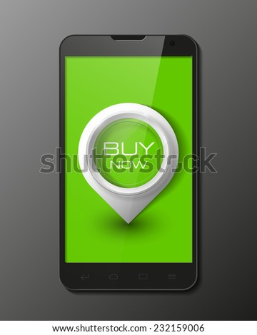 Smartphone, mobile phone isolated with pointers to buy now, realistic vector illustration. - stock vector