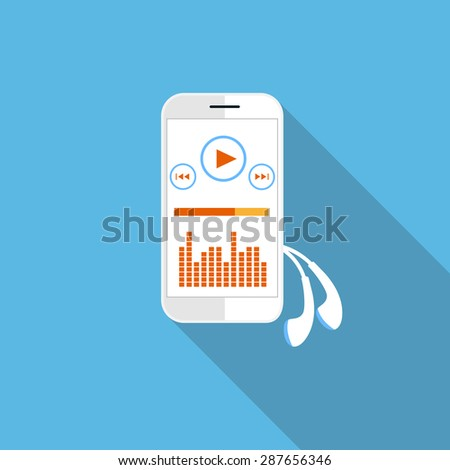 Smartphone music player with streaming application on blue background - stock vector