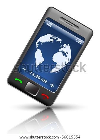 Smartphone on white background, vector illustration - stock vector