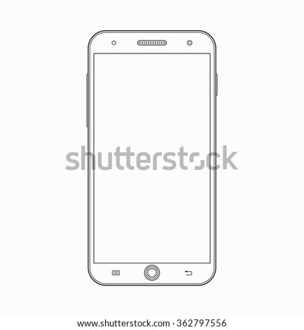 Smartphone outline icon. Modern smart phone, mobile phone, cellphone wireframe template isolated on white background. Vector illustration - stock vector