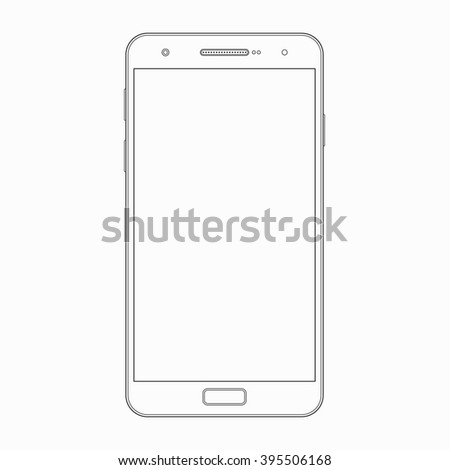 Smartphone Outline Template Vector Wireframe Contour Stock Vector