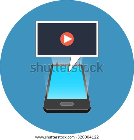 Smartphone playing video concept. Isometric design. Icon in blue circle on white background. - stock vector
