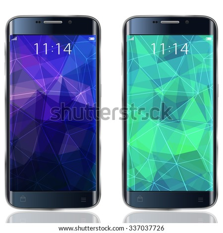 Smartphone realistic mock up with triangular Abstract background. Vector Illustration - stock vector