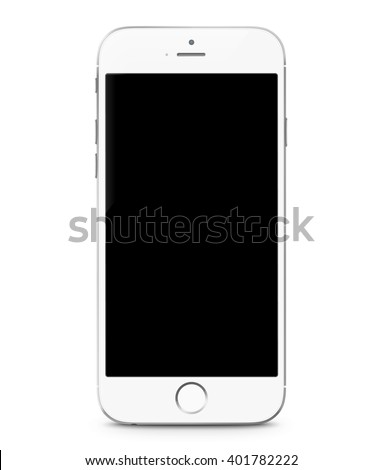Smartphone realistic vector iphon illustration. Mobile phone mockup with blank screen isolated on white background - stock vector