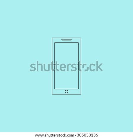 Smartphone. Simple outline flat vector icon isolated on blue background