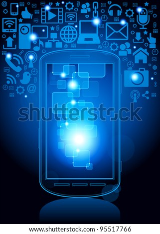 smartphone; social media, communication in the global computer networks.File is saved in AI10 EPS version. This illustration contains a transparency - stock vector