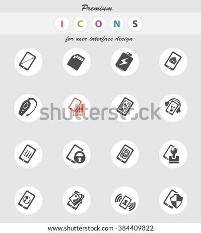 Smartphone specifications and functions vector icons for web sites and user interface - stock vector