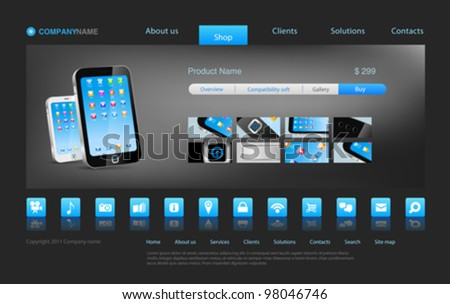 Smartphone touch technology concept business innovation. Website template for stylish concept online store or something else. Editable. - stock vector