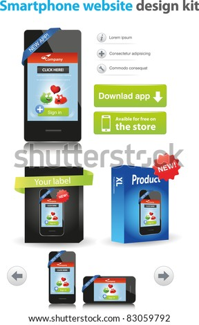 Smartphone website design kit - stock vector