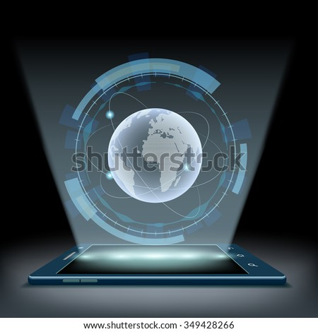 Smartphone with a hologram Planet Earth. Futuristic user interface HUD. Stock vector illustration. - stock vector