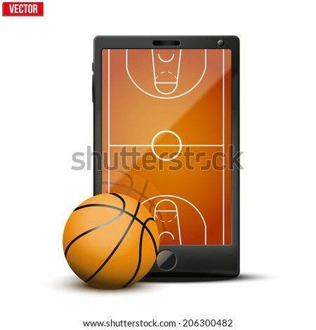 Smartphone with basketball ball and field on the screen. Sports theme and applications. Vector illustration Isolated on white background.
