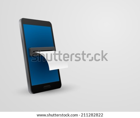 smartphone with bill check concept 3d - stock vector