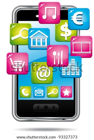 Smartphone with cloud of applications. Vector icon. - stock vector