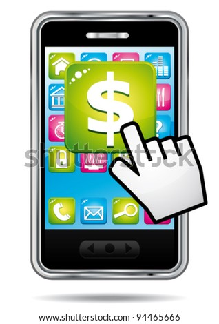Smartphone with hand cursor opening banking application in dollars. - stock vector