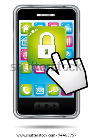 Smartphone with hand cursor opening security app icon. Data protection concept. Vector icon. - stock vector