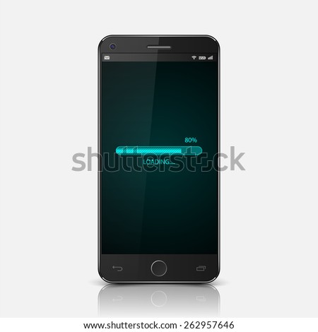 Smartphone with loading screen,vector - stock vector