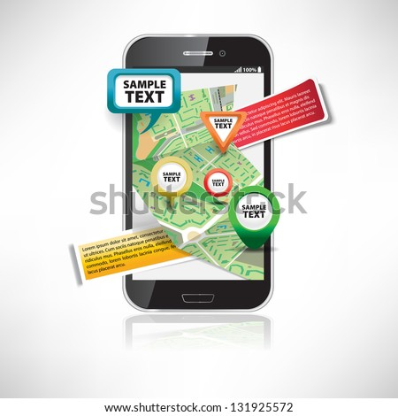 Smartphone with maps - stock vector