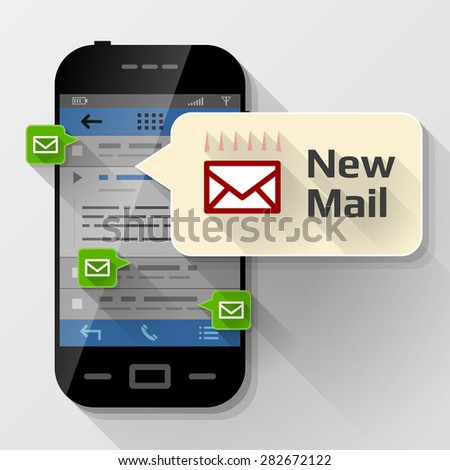 Smartphone with message bubble about new mail. Dialog box pop up over screen of phone. Vector illustration about smartphone, communication, mobile technology, notification, application prompting, etc - stock vector