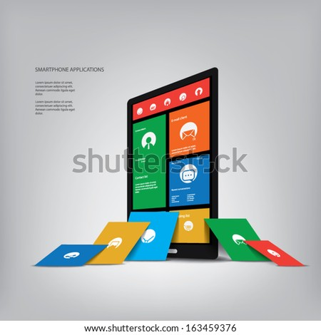 Smartphone with metro style graphic user interface with space for your text, infographics, presentation. Eps10 vector illustration - stock vector