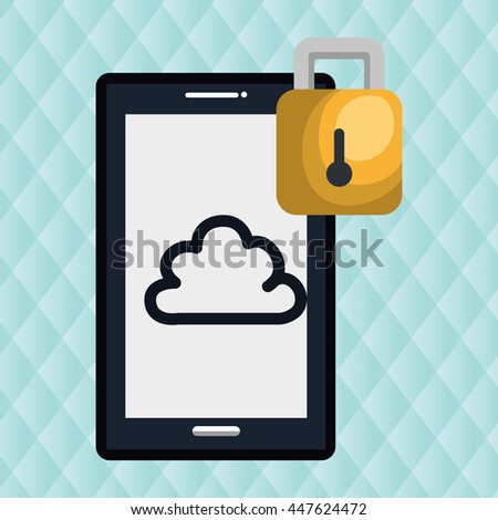 smartphone  with padlock  isolated icon design, vector illustration  graphic