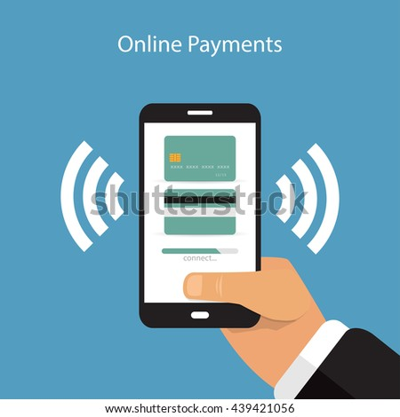 Smartphone with processing of mobile payments from credit card on the screen in flat style - stock vector