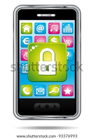 Smartphone with security app icon. Data protection. Vector illustration.