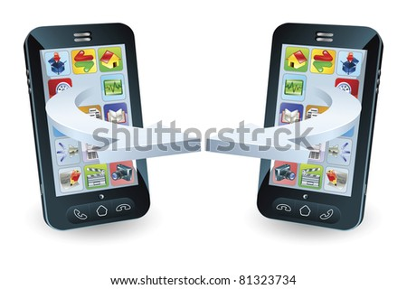 Smartphones communicating via wireless technology concept - stock vector