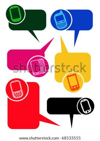 Smartphones Dialog Bubbles in vectors - stock vector