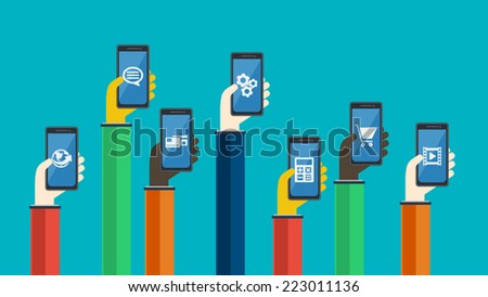 Smartphones in hands. Mobile apps concept. Vector in flat design. Symbols of earth, credit card , chat bubble, gears, video, shopping cart, calculator - stock vector