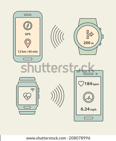 Smartwatch, fitness tracker and smartphones communication. Smartphone sending message with GPS position to smartwatch. Vector illustration - stock vector
