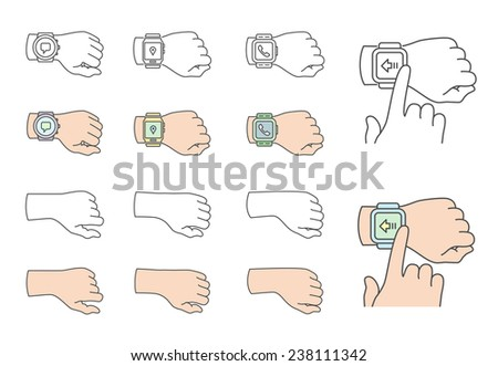Smartwatch gestures. Collection of hands with smartwatch. Vector illustrations - stock vector