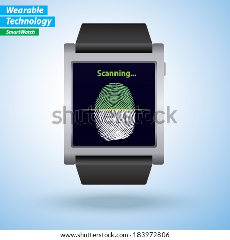 SmartWatch - Thumb Print / finger print  scanning. - stock vector