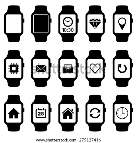 Smartwatch wearable technology symbol with different icons. Flat design style modern vector illustration concept of smartwatch gadget, clock time, Diamond, Map Pin Location etc icon and empty window - stock vector