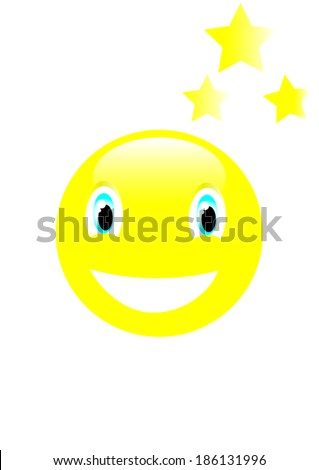 smile and stars  - stock vector