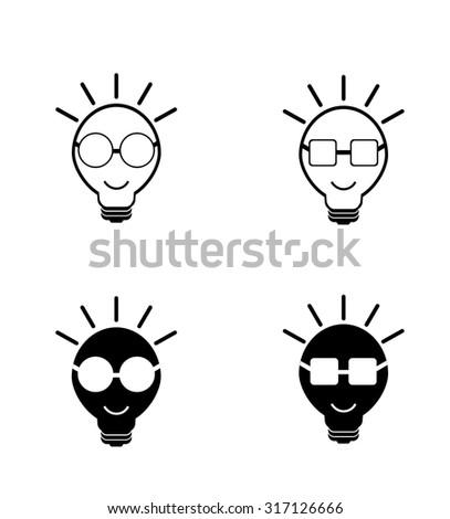 Set Hand Drawn Cartoon Light Bulbs 106637990