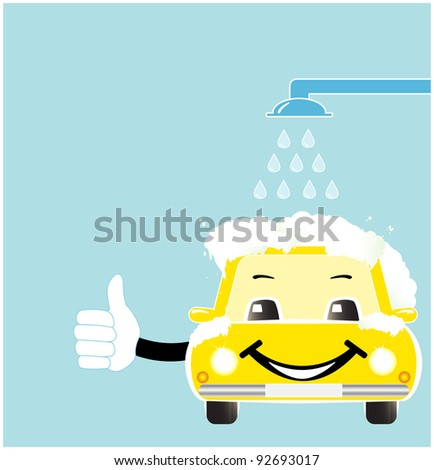 smile cartoon car in car wash with soap spume - stock vector