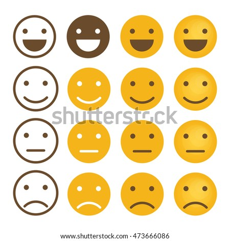 Smile emotions icons vector, simple flat round faces signs in different styles.