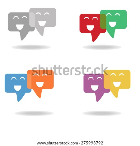 Smile face in speech bubbles Icon: colorful vintage vector on white background - stock vector