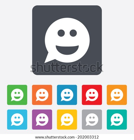 Smile face sign icon. Happy smiley chat symbol. Speech bubble. Rounded squares 11 buttons. Vector - stock vector