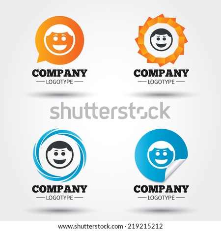 Smile face sign icon. Happy smiley with hairstyle chat symbol. Business abstract circle logos. Icon in speech bubble, wreath. Vector - stock vector