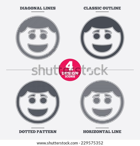Smile face sign icon. Happy smiley with hairstyle chat symbol. Diagonal and horizontal lines, classic outline, dotted texture. Pattern design icons.  Vector - stock vector