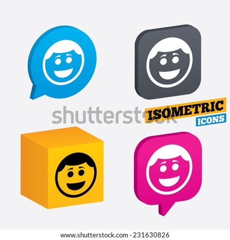 Smile face sign icon. Happy smiley with hairstyle chat symbol. Isometric speech bubbles and cube. Rotated icons with edges. Vector - stock vector