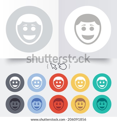 Smile face sign icon. Happy smiley with hairstyle chat symbol. Round 12 circle buttons. Shadow. Hand cursor pointer. Vector - stock vector