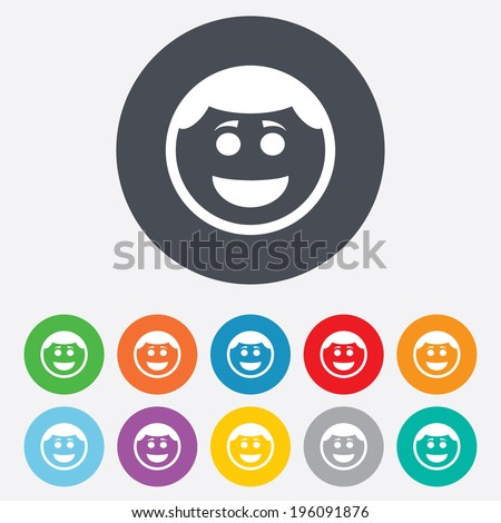 Smile face sign icon. Happy smiley with hairstyle chat symbol. Round colourful 11 buttons. Vector - stock vector