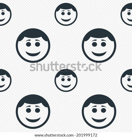 Smile face sign icon. Happy smiley with hairstyle chat symbol. Seamless grid lines texture. Cells repeating pattern. White texture background. Vector - stock vector