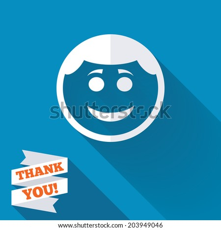 Smile face sign icon. Happy smiley with hairstyle chat symbol. White flat icon with long shadow. Paper ribbon label with Thank you text. Vector - stock vector