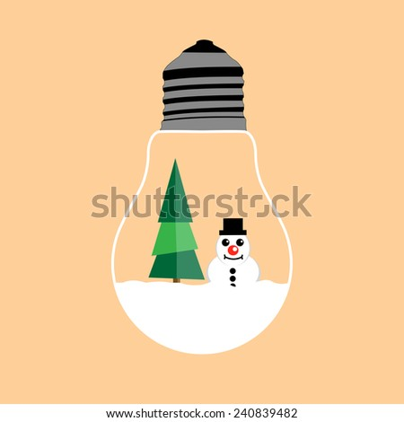 smile face snowman and christmas tree with snow in light bulb - stock vector